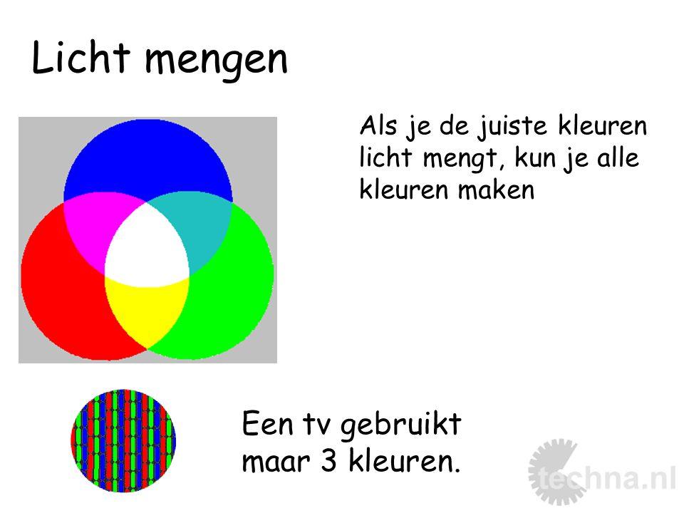 Licht mengen Als je de juiste kleuren licht mengt, kun je alle kleuren maken Een tv gebruikt maar 3 kleuren.