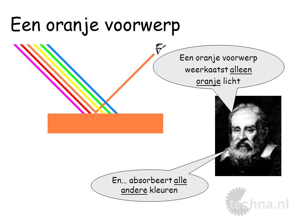 Een oranje voorwerp weerkaatst alleen oranje licht En… absorbeert alle andere kleuren