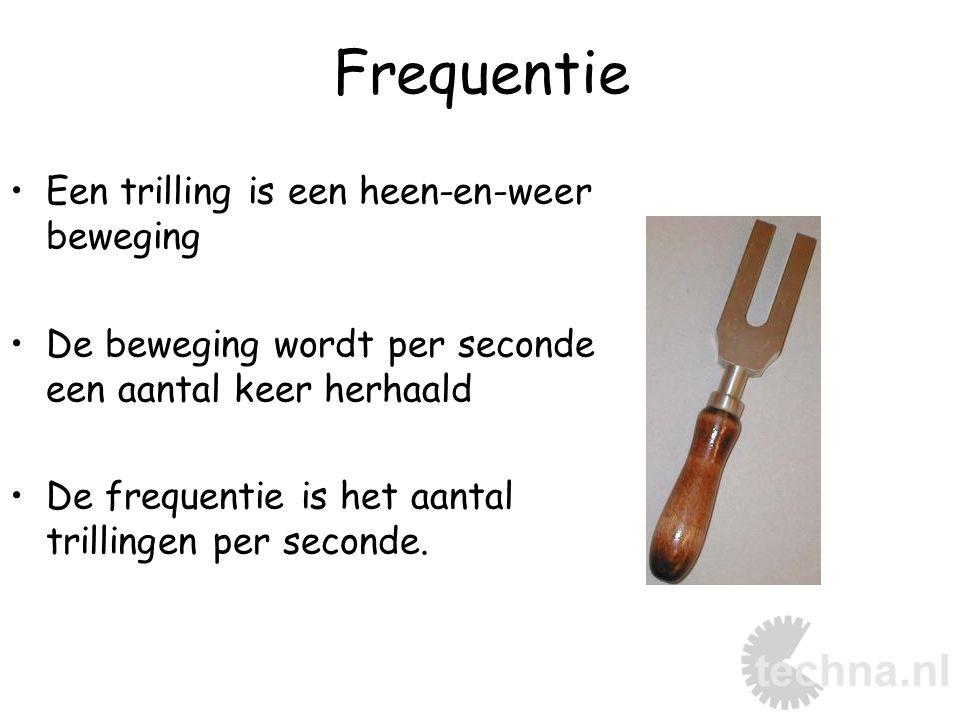 Hertz De eenheid van frequentie is Hertz (Hz) Frequentie = een grootheid 128 Hz zijn dus 128 trillingen per seconde.