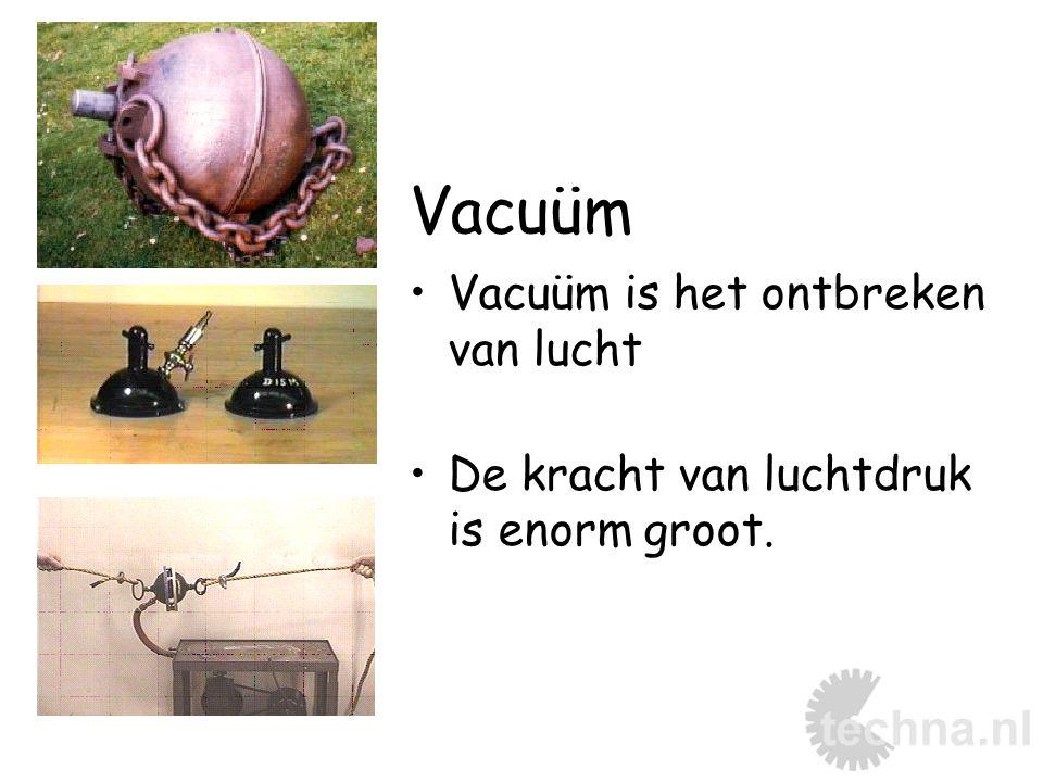 Vacuüm Vacuüm is het ontbreken van lucht De kracht van luchtdruk is enorm groot.