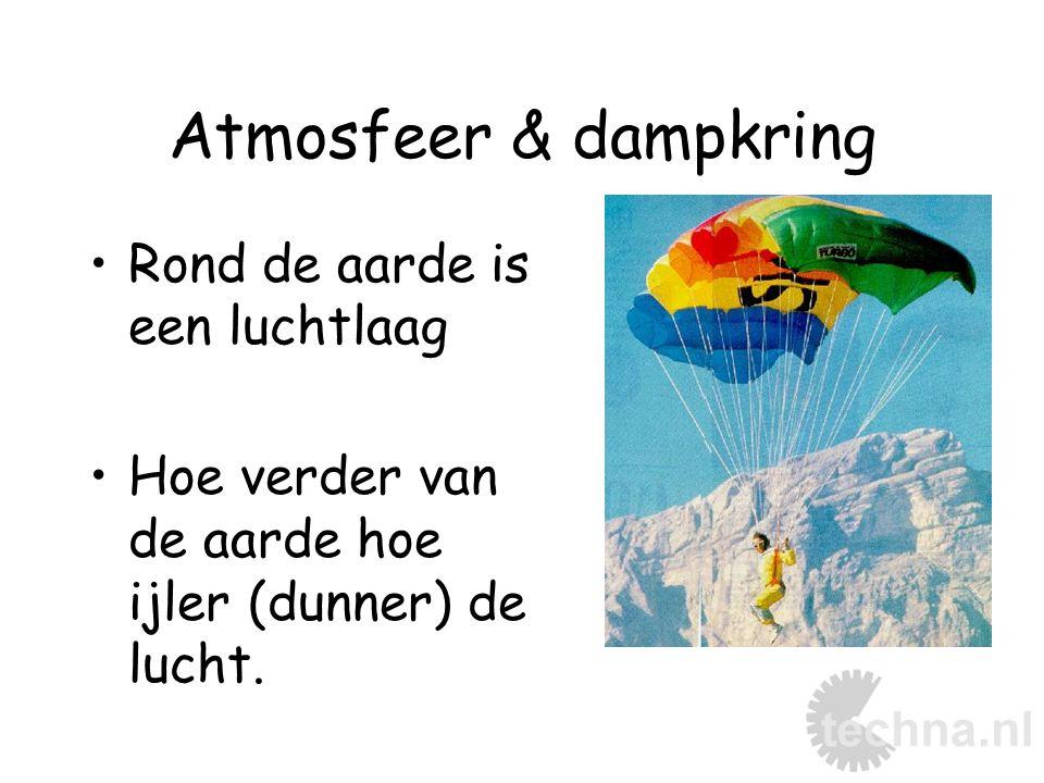Atmosfeer & dampkring Rond de aarde is een luchtlaag Hoe verder van de aarde hoe ijler (dunner) de lucht.