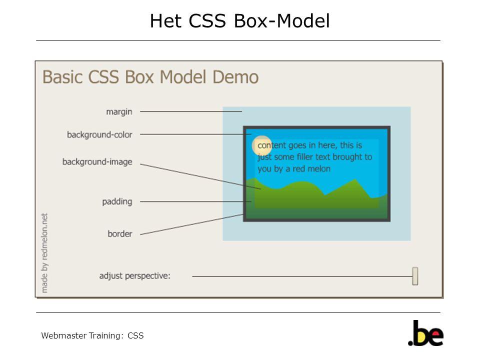 Webmaster Training: CSS Het CSS Box-Model