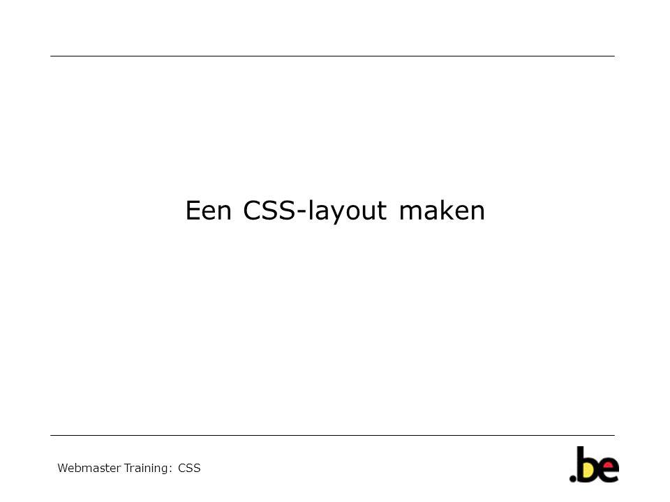 Webmaster Training: CSS Een CSS-layout maken