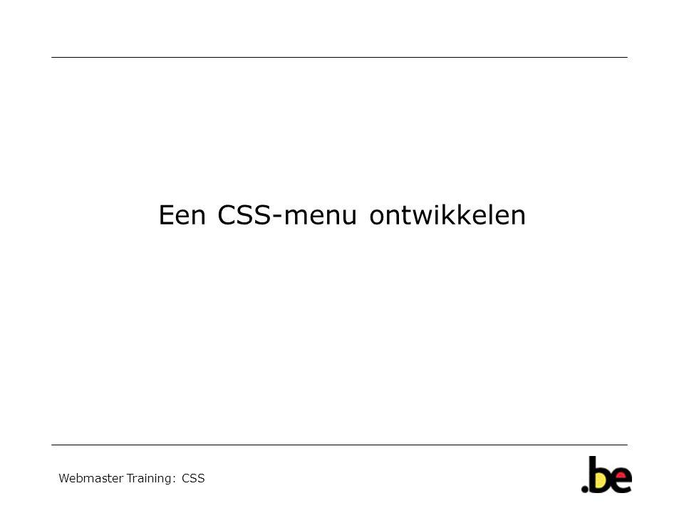 Webmaster Training: CSS Een CSS-menu ontwikkelen