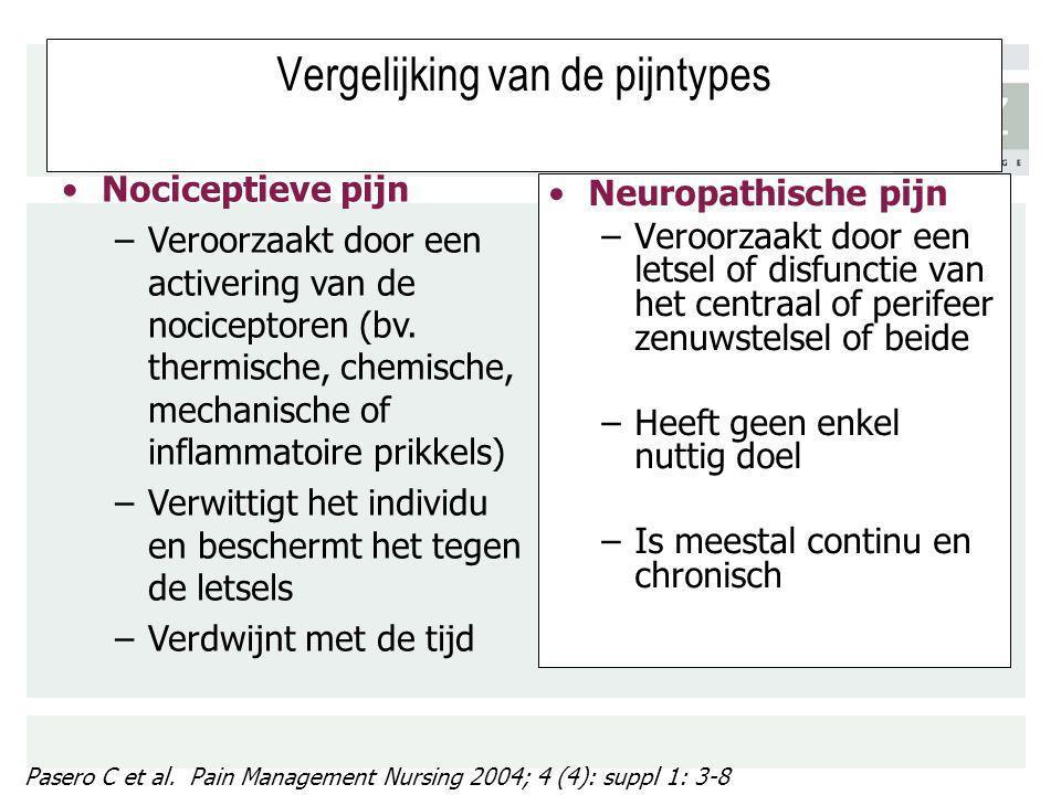 Vergelijking van de pijntypes Neuropathische pijn –Veroorzaakt door een letsel of disfunctie van het centraal of perifeer zenuwstelsel of beide –Heeft