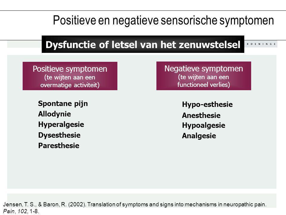 Positieve symptomen (te wijten aan een overmatige activiteit) Positieve en negatieve sensorische symptomen Dysesthesie Paresthesie Spontane pijn Hyper