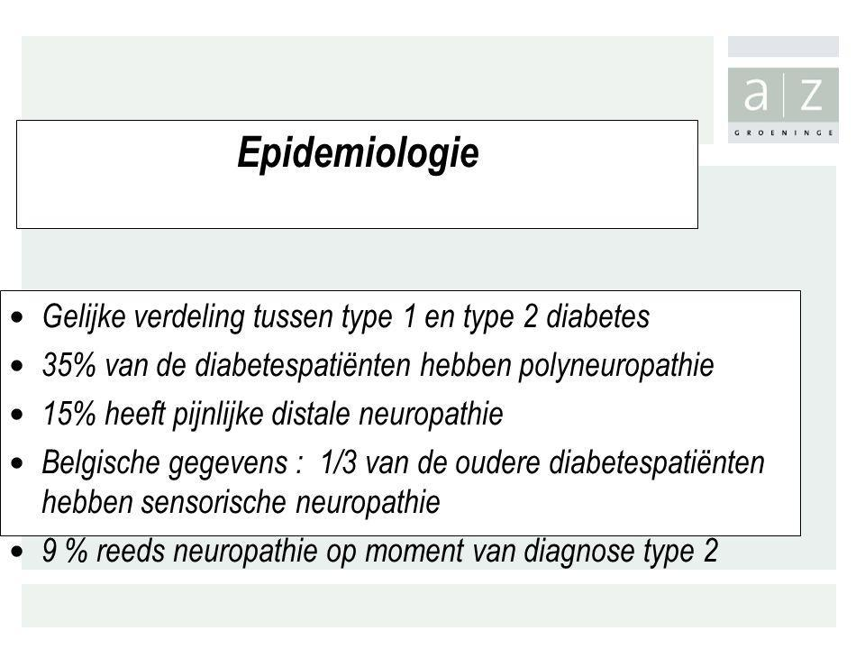 Epidemiologie Gelijke verdeling tussen type 1 en type 2 diabetes 35% van de diabetespatiënten hebben polyneuropathie 15% heeft pijnlijke distale neuro