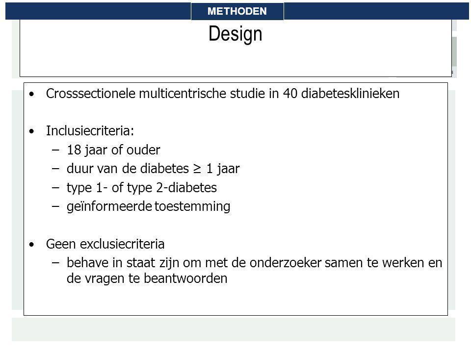 Design Crosssectionele multicentrische studie in 40 diabetesklinieken Inclusiecriteria: –18 jaar of ouder –duur van de diabetes ≥ 1 jaar –type 1- of t
