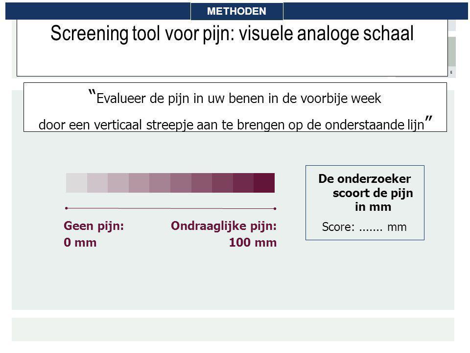 """Screening tool voor pijn: visuele analoge schaal """" Evalueer de pijn in uw benen in de voorbije week door een verticaal streepje aan te brengen op de o"""