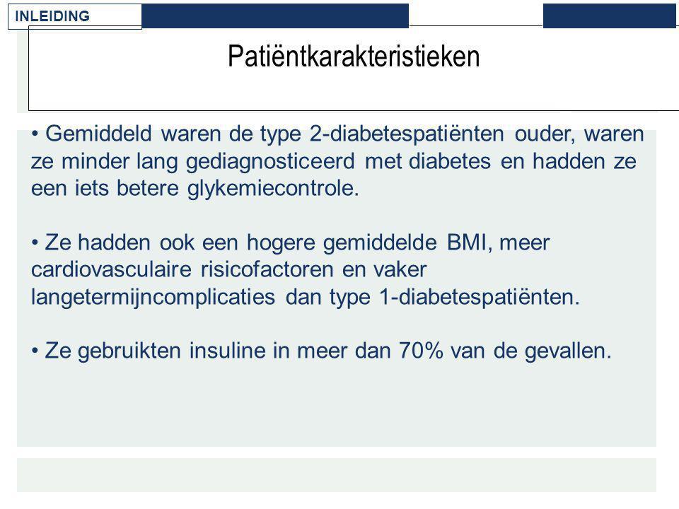 Patiëntkarakteristieken Gemiddeld waren de type 2-diabetespatiënten ouder, waren ze minder lang gediagnosticeerd met diabetes en hadden ze een iets be