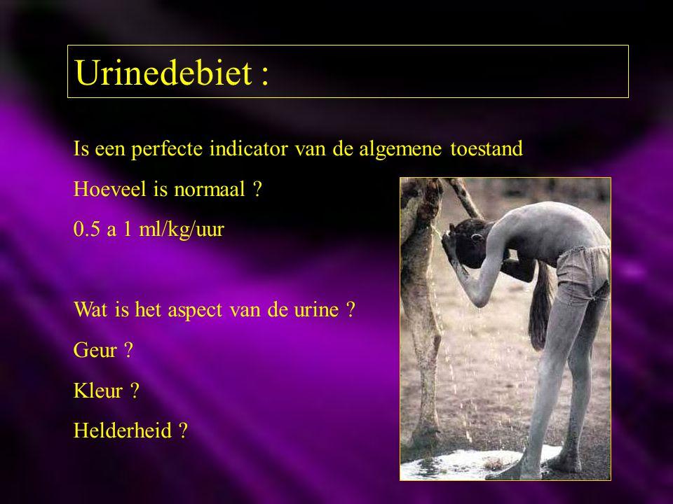 Urinedebiet : Is een perfecte indicator van de algemene toestand Hoeveel is normaal ? 0.5 a 1 ml/kg/uur Wat is het aspect van de urine ? Geur ? Kleur