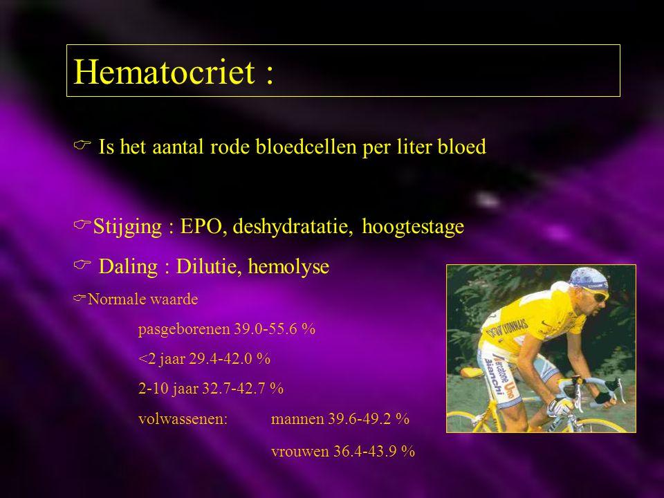 Hematocriet :  Is het aantal rode bloedcellen per liter bloed  Stijging : EPO, deshydratatie, hoogtestage  Daling : Dilutie, hemolyse  Normale waa