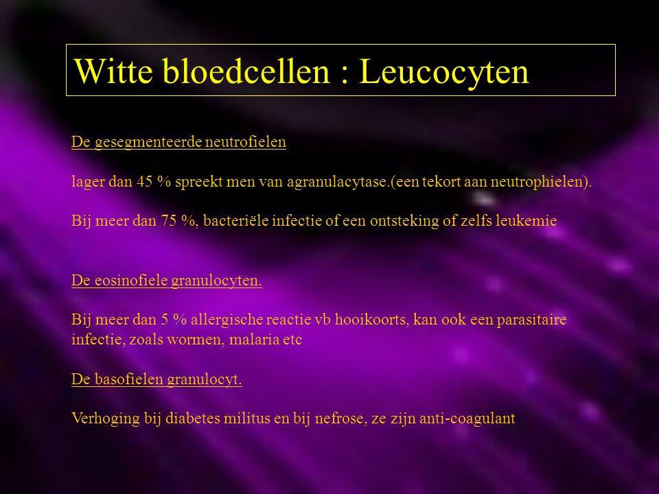 Witte bloedcellen : Leucocyten De gesegmenteerde neutrofielen lager dan 45 % spreekt men van agranulacytase.(een tekort aan neutrophielen). Bij meer d