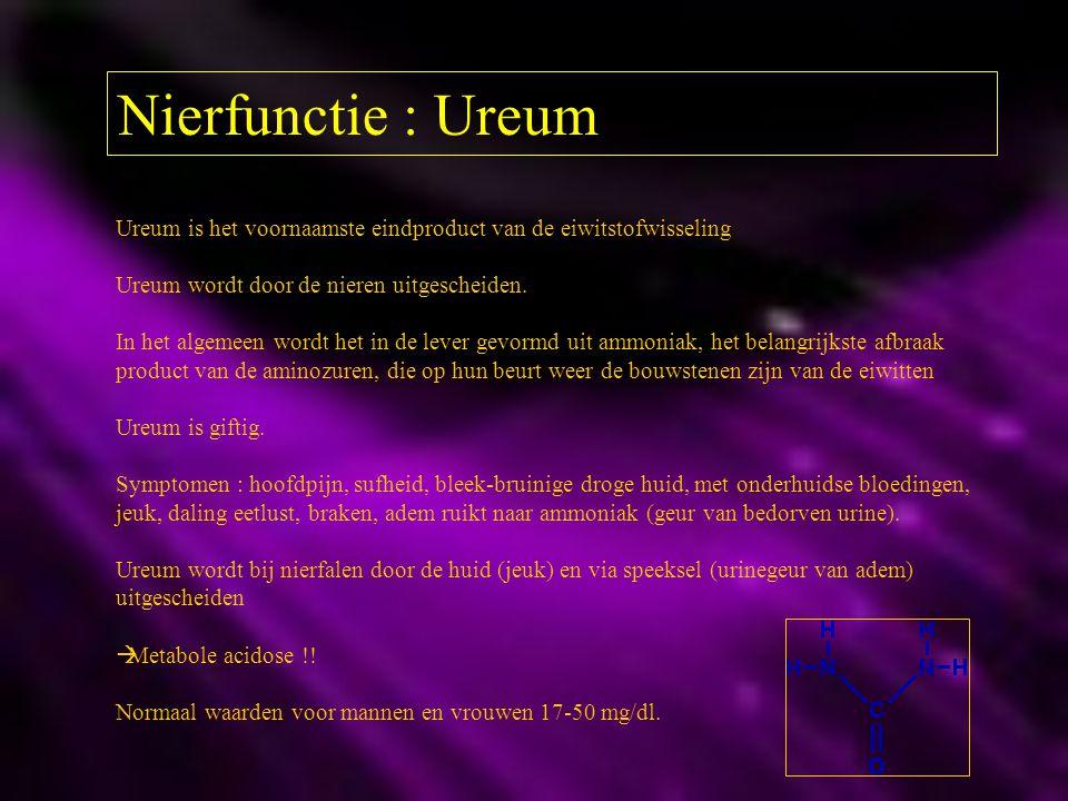 Nierfunctie : Ureum Ureum is het voornaamste eindproduct van de eiwitstofwisseling Ureum wordt door de nieren uitgescheiden. In het algemeen wordt het
