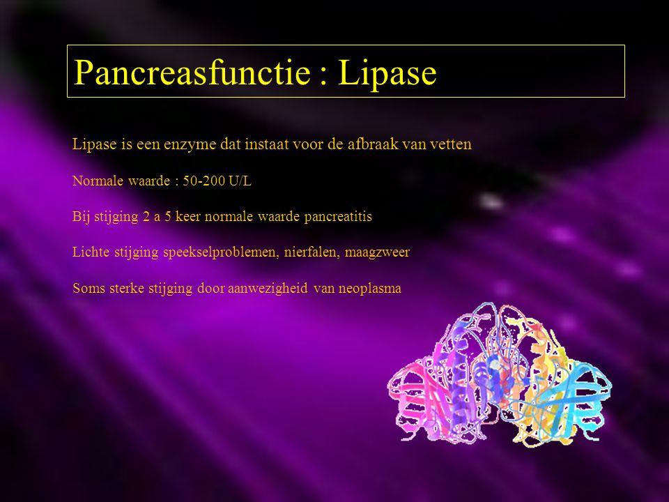 Pancreasfunctie : Lipase Lipase is een enzyme dat instaat voor de afbraak van vetten Normale waarde : 50-200 U/L Bij stijging 2 a 5 keer normale waard