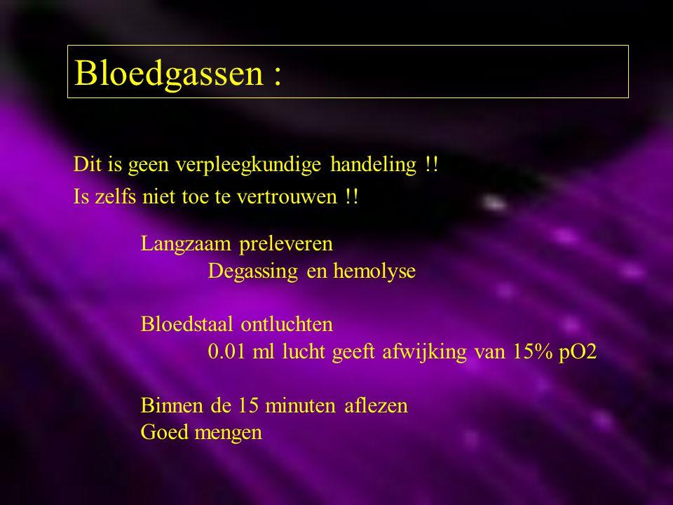 Bloedgassen : Dit is geen verpleegkundige handeling !! Is zelfs niet toe te vertrouwen !! Langzaam preleveren Degassing en hemolyse Bloedstaal ontluch