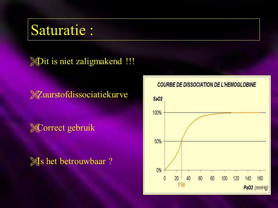Saturatie :  Dit is niet zaligmakend !!!  Zuurstofdissociatiekurve  Correct gebruik  Is het betrouwbaar ?