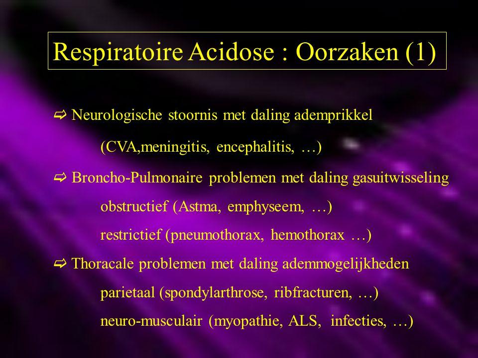 Respiratoire Acidose : Oorzaken (1)  Neurologische stoornis met daling ademprikkel (CVA,meningitis, encephalitis, …)  Broncho-Pulmonaire problemen m