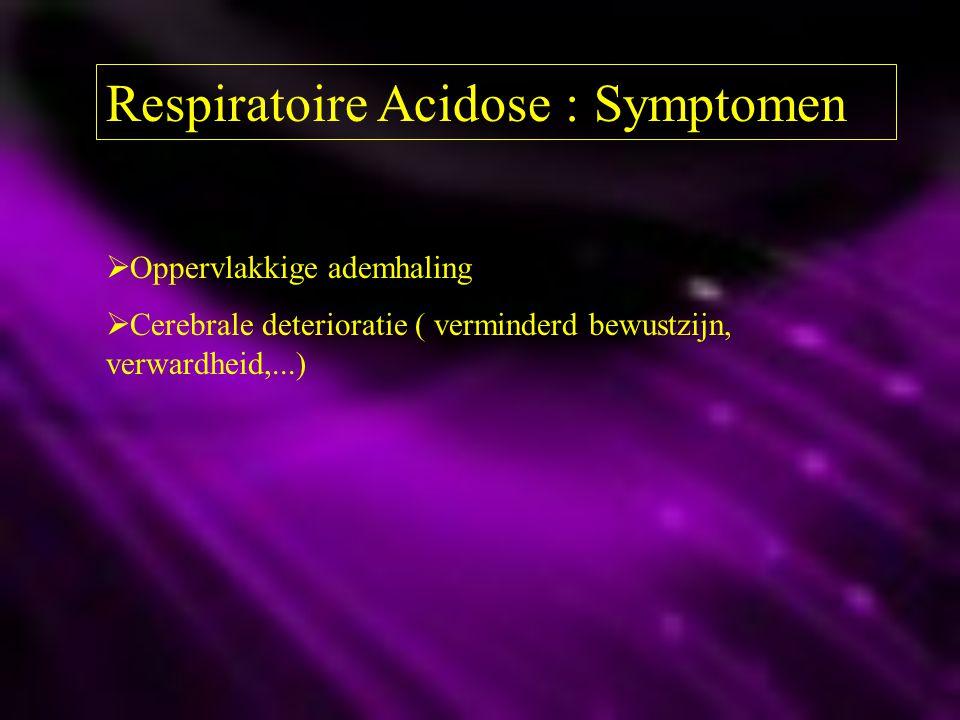 Respiratoire Acidose : Symptomen  Oppervlakkige ademhaling  Cerebrale deterioratie ( verminderd bewustzijn, verwardheid,...)