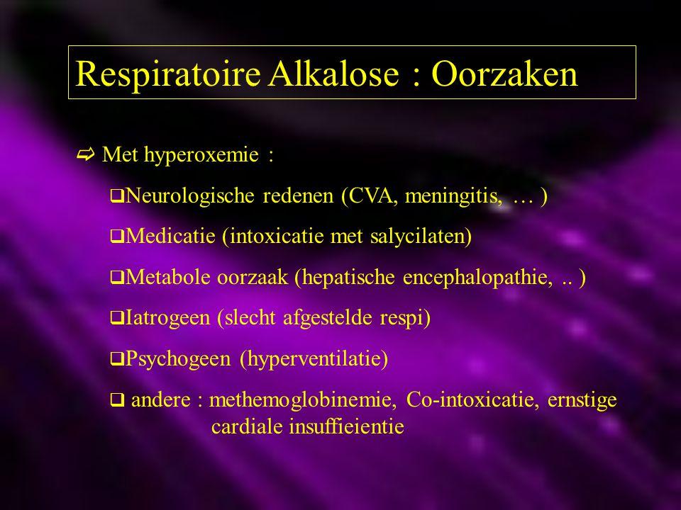 Respiratoire Alkalose : Oorzaken  Met hyperoxemie :  Neurologische redenen (CVA, meningitis, … )  Medicatie (intoxicatie met salycilaten)  Metabol