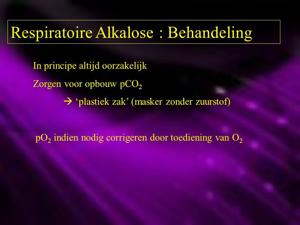 Respiratoire Alkalose : Behandeling In principe altijd oorzakelijk Zorgen voor opbouw pCO 2  'plastiek zak' (masker zonder zuurstof) pO 2 indien nodi