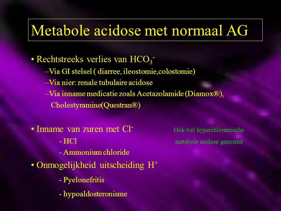 Metabole acidose met normaal AG Rechtstreeks verlies van HCO 3 - –Via GI stelsel ( diarree, ileostomie,colostomie) –Via nier: renale tubulaire acidose