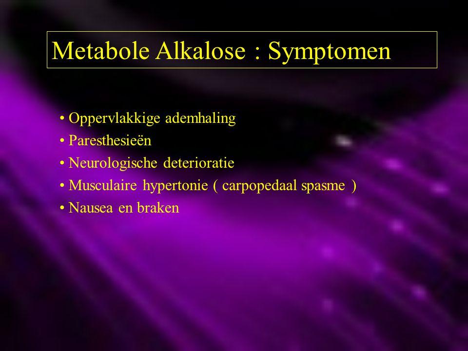 Metabole Alkalose : Symptomen Oppervlakkige ademhaling Paresthesieën Neurologische deterioratie Musculaire hypertonie ( carpopedaal spasme ) Nausea en