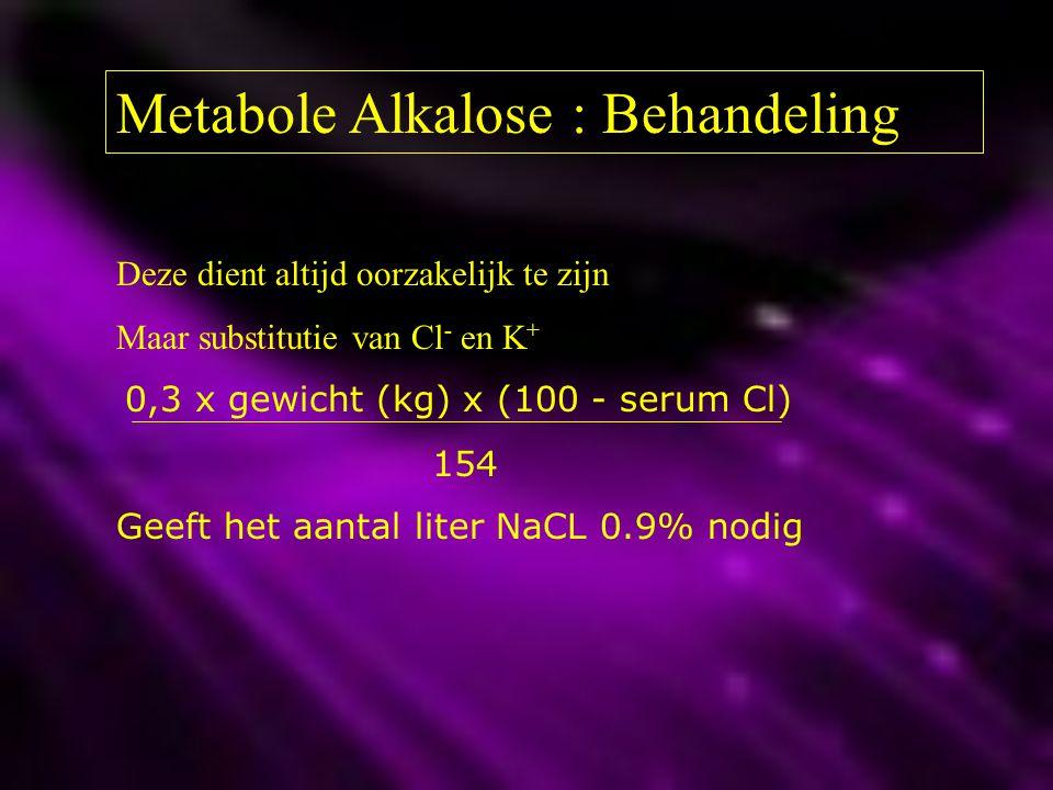Metabole Alkalose : Behandeling Deze dient altijd oorzakelijk te zijn Maar substitutie van Cl - en K + 0,3 x gewicht (kg) x (100 - serum Cl) 154 Geeft