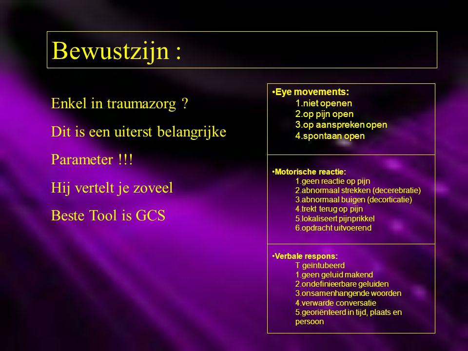 Bewustzijn : Enkel in traumazorg ? Dit is een uiterst belangrijke Parameter !!! Hij vertelt je zoveel Beste Tool is GCS Eye movements: 1.niet openen 2