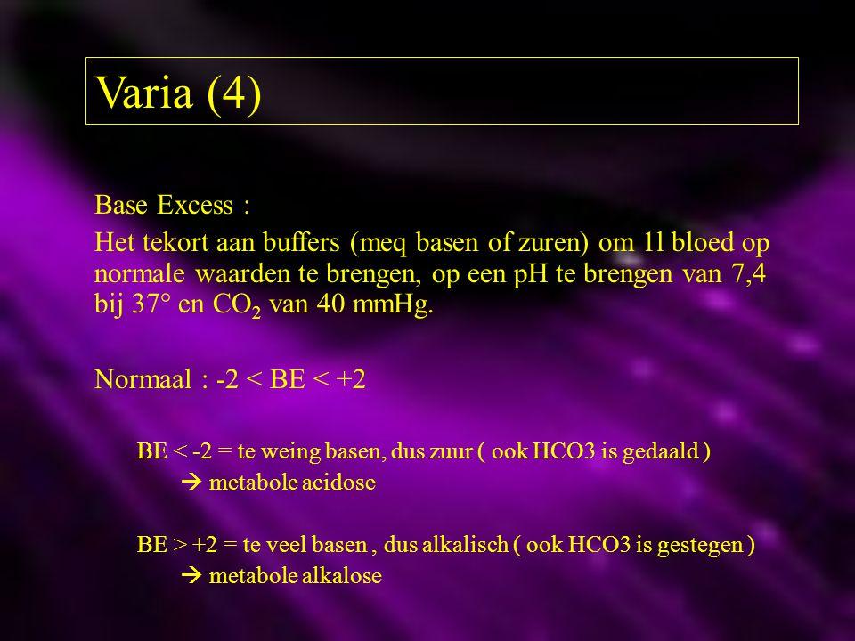 Varia (4) Base Excess : Het tekort aan buffers (meq basen of zuren) om 1l bloed op normale waarden te brengen, op een pH te brengen van 7,4 bij 37° en