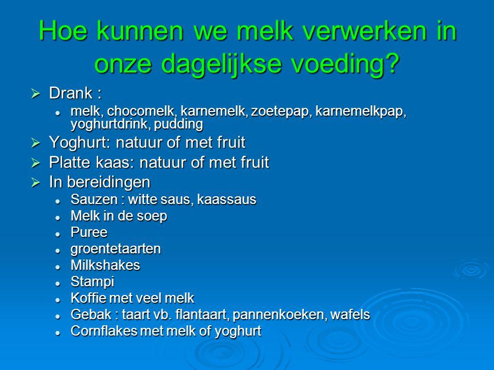 Hoe kunnen we melk verwerken in onze dagelijkse voeding?  Drank : melk, chocomelk, karnemelk, zoetepap, karnemelkpap, yoghurtdrink, pudding melk, cho