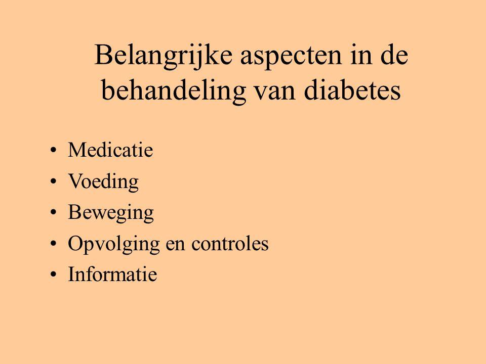 Belangrijke aspecten in de behandeling van diabetes Medicatie Voeding Beweging Opvolging en controles Informatie