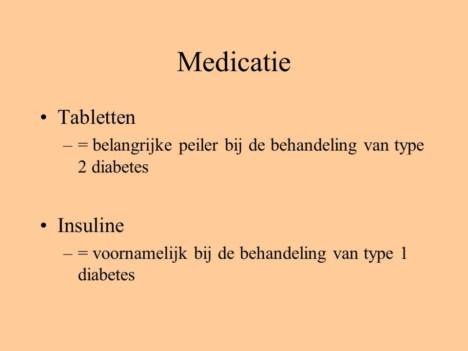 Medicatie Tabletten –= belangrijke peiler bij de behandeling van type 2 diabetes Insuline –= voornamelijk bij de behandeling van type 1 diabetes