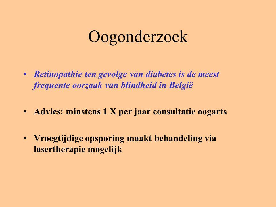 Oogonderzoek Retinopathie ten gevolge van diabetes is de meest frequente oorzaak van blindheid in België Advies: minstens 1 X per jaar consultatie oogarts Vroegtijdige opsporing maakt behandeling via lasertherapie mogelijk