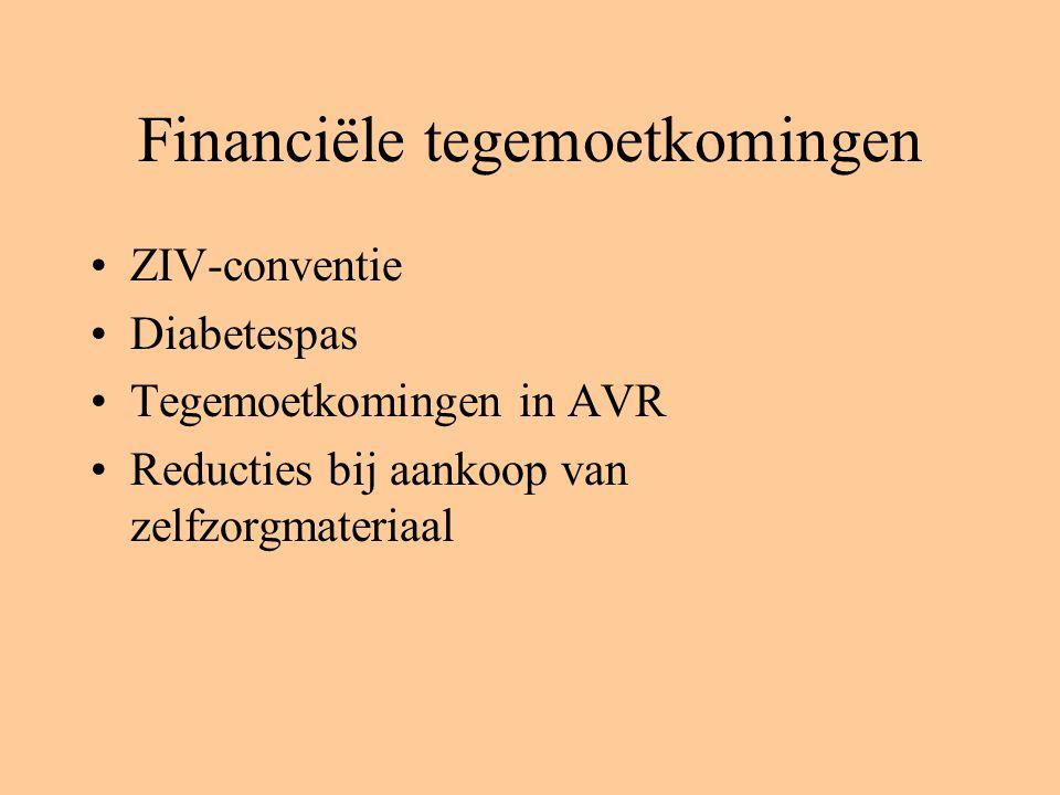 Financiële tegemoetkomingen ZIV-conventie Diabetespas Tegemoetkomingen in AVR Reducties bij aankoop van zelfzorgmateriaal
