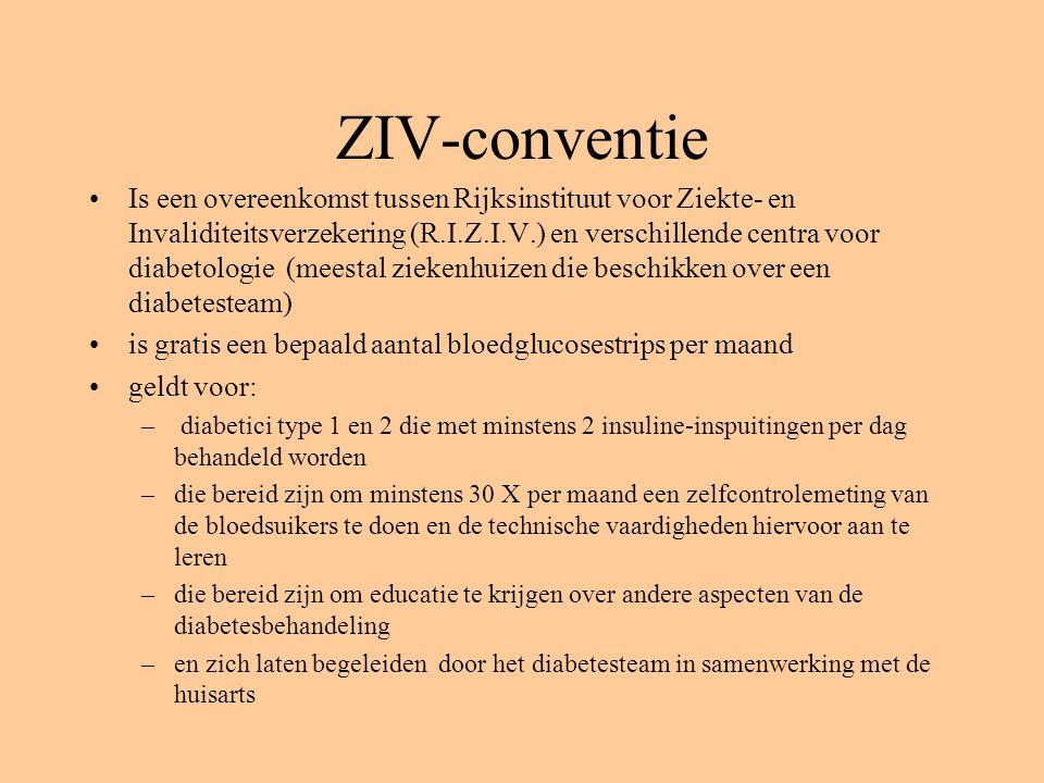 ZIV-conventie Is een overeenkomst tussen Rijksinstituut voor Ziekte- en Invaliditeitsverzekering (R.I.Z.I.V.) en verschillende centra voor diabetologi