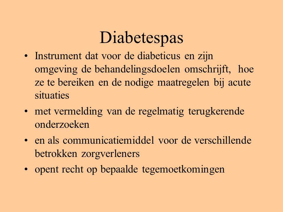 Diabetespas Instrument dat voor de diabeticus en zijn omgeving de behandelingsdoelen omschrijft, hoe ze te bereiken en de nodige maatregelen bij acute situaties met vermelding van de regelmatig terugkerende onderzoeken en als communicatiemiddel voor de verschillende betrokken zorgverleners opent recht op bepaalde tegemoetkomingen