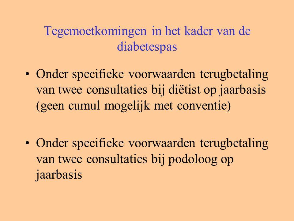 Tegemoetkomingen in het kader van de diabetespas Onder specifieke voorwaarden terugbetaling van twee consultaties bij diëtist op jaarbasis (geen cumul mogelijk met conventie) Onder specifieke voorwaarden terugbetaling van twee consultaties bij podoloog op jaarbasis