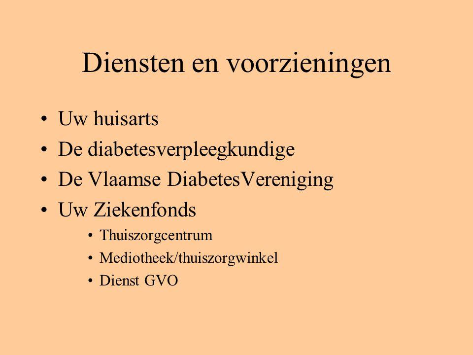 Diensten en voorzieningen Uw huisarts De diabetesverpleegkundige De Vlaamse DiabetesVereniging Uw Ziekenfonds Thuiszorgcentrum Mediotheek/thuiszorgwinkel Dienst GVO