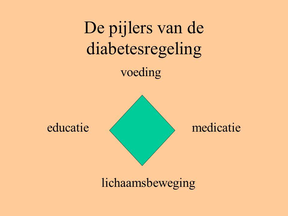 De pijlers van de diabetesregeling voeding educatie medicatie lichaamsbeweging