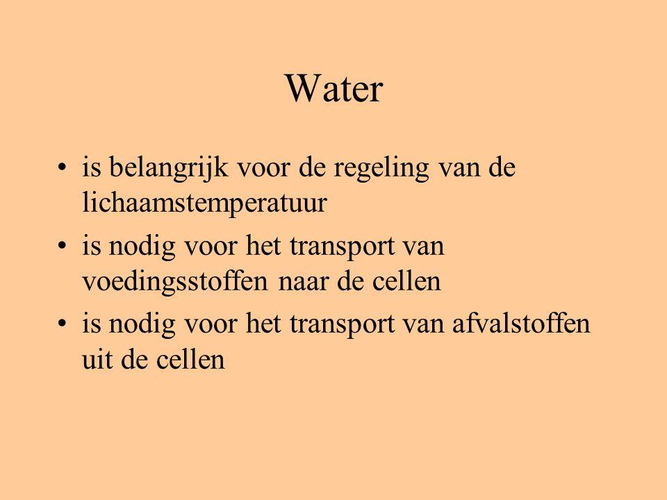 Water is belangrijk voor de regeling van de lichaamstemperatuur is nodig voor het transport van voedingsstoffen naar de cellen is nodig voor het transport van afvalstoffen uit de cellen