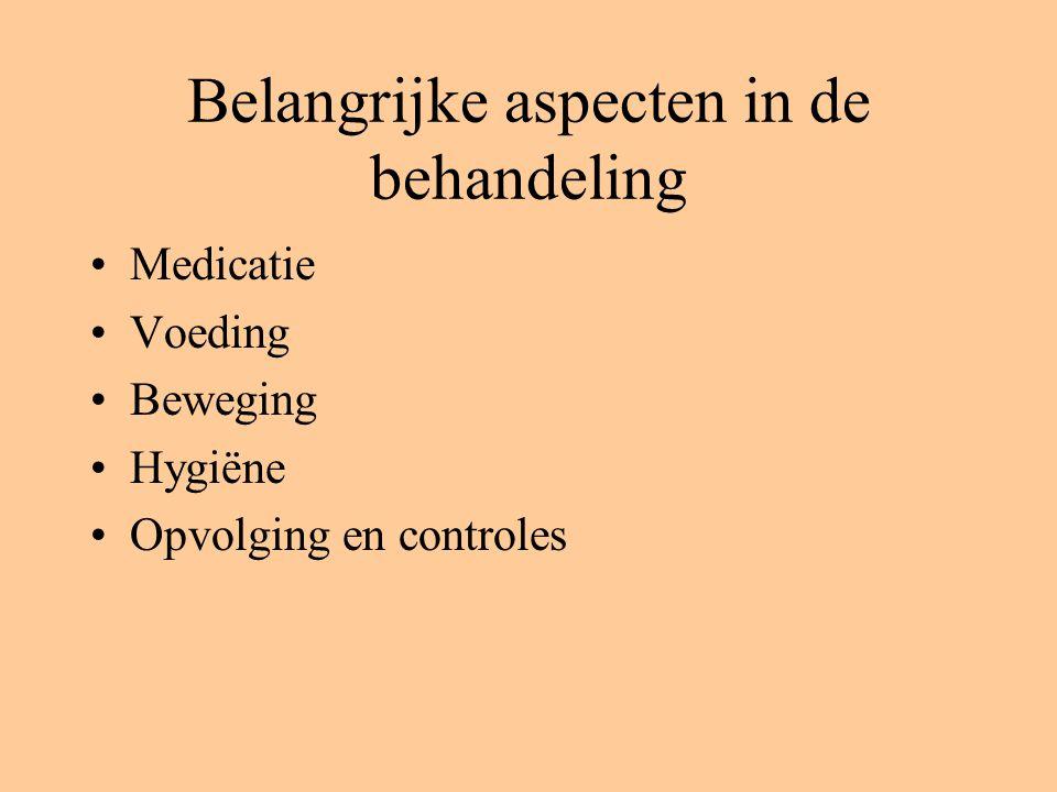 Belangrijke aspecten in de behandeling Medicatie Voeding Beweging Hygiëne Opvolging en controles