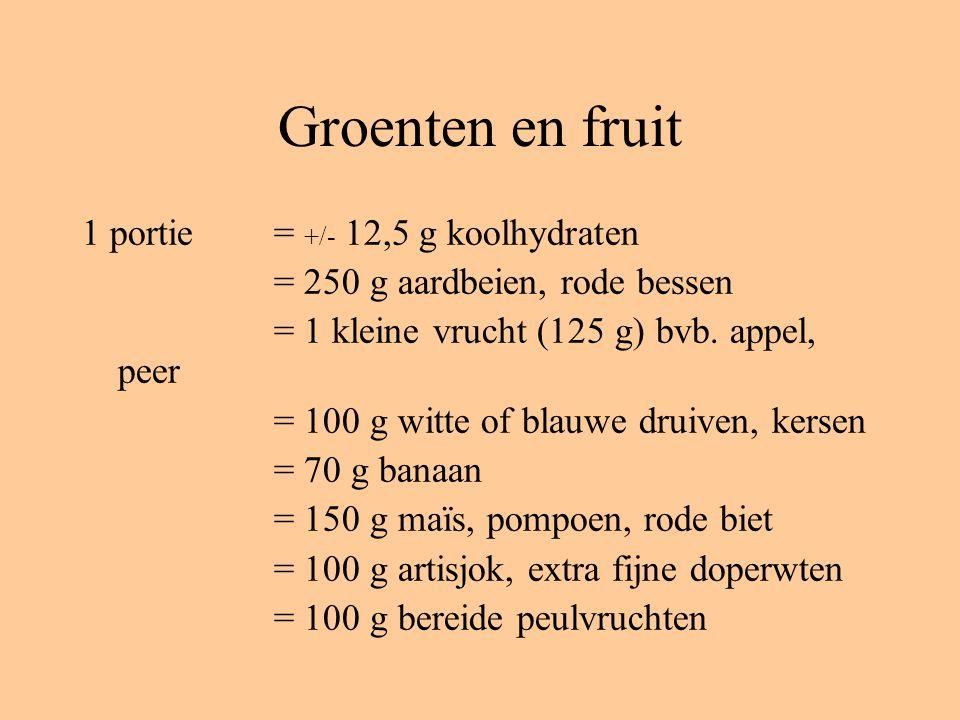 Groenten en fruit 1 portie= +/- 12,5 g koolhydraten = 250 g aardbeien, rode bessen = 1 kleine vrucht (125 g) bvb.