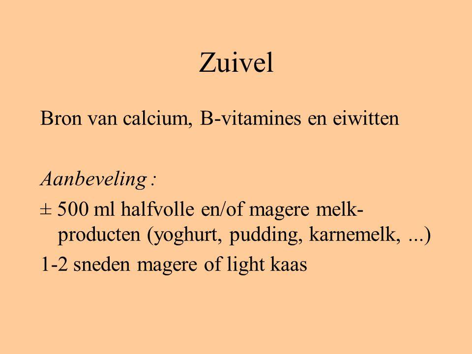 Zuivel Bron van calcium, B-vitamines en eiwitten Aanbeveling : ± 500 ml halfvolle en/of magere melk- producten (yoghurt, pudding, karnemelk,...) 1-2 sneden magere of light kaas