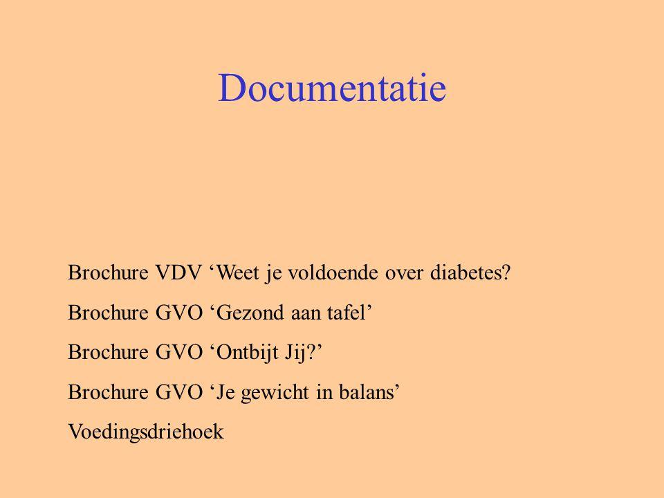 Documentatie Brochure VDV 'Weet je voldoende over diabetes? Brochure GVO 'Gezond aan tafel' Brochure GVO 'Ontbijt Jij?' Brochure GVO 'Je gewicht in ba