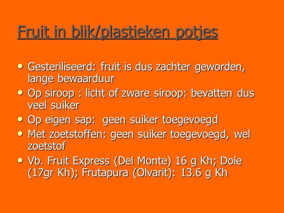 Fruit in blik/plastieken potjes Gesteriliseerd: fruit is dus zachter geworden, lange bewaarduur Gesteriliseerd: fruit is dus zachter geworden, lange b