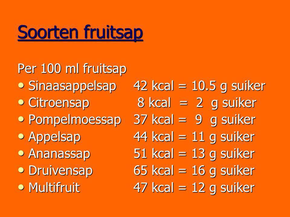 Soorten fruitsap Per 100 ml fruitsap Sinaasappelsap42 kcal = 10.5 g suiker Sinaasappelsap42 kcal = 10.5 g suiker Citroensap 8 kcal = 2 g suiker Citroe