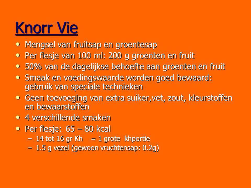 Knorr Vie Mengsel van fruitsap en groentesap Mengsel van fruitsap en groentesap Per flesje van 100 ml: 200 g groenten en fruit Per flesje van 100 ml: