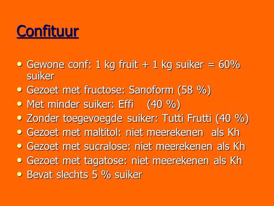 Confituur Gewone conf: 1 kg fruit + 1 kg suiker = 60% suiker Gewone conf: 1 kg fruit + 1 kg suiker = 60% suiker Gezoet met fructose: Sanoform (58 %) G