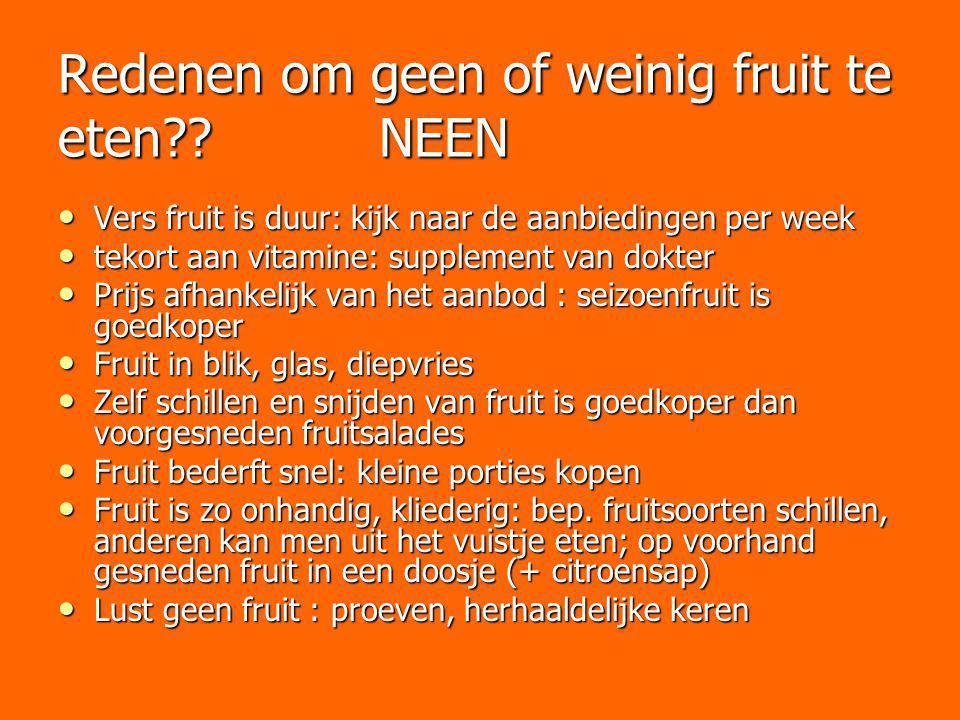 Redenen om geen of weinig fruit te eten?? NEEN Vers fruit is duur: kijk naar de aanbiedingen per week Vers fruit is duur: kijk naar de aanbiedingen pe